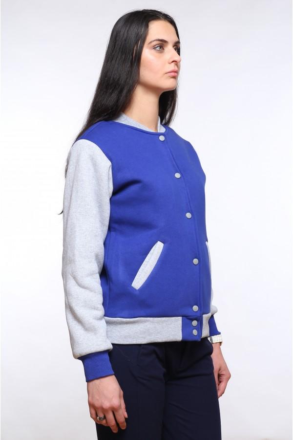 0ebcc1a0b684 Колледж куртка женская синяя с серым Колледж куртка женская синяя с серым  ...