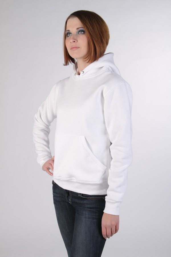 cd819404 ... Женская белая толстовка с капюшоном и карманом 320гр/м2 с начесом ...