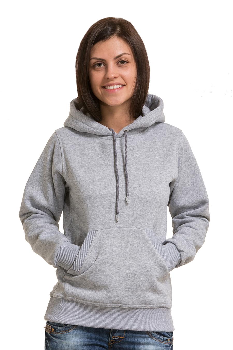 8e79866c ... Серая толстовка для девушки с капюшоном и карманом 320гр/м2 с начесом  ...