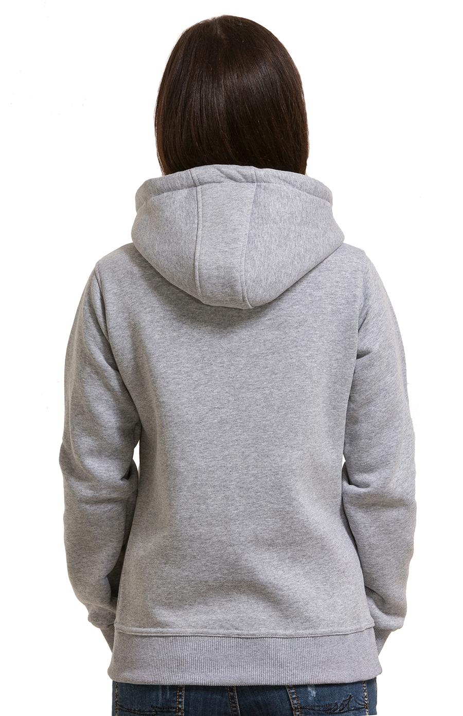 5a2754fb ... Серая толстовка для девушки с капюшоном и карманом 320гр/м2 с начесом