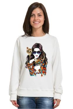 Толстовка Девушка с котом, свитшот Девушка с котом, футболка Девушка с котом