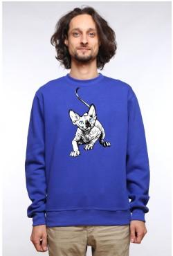 Толстовка с принтом Голубоглазый кот, свитшот с принтом Голубоглазый кот, футболка с принтом Голубоглазый кот
