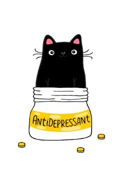 Толстовка с принтом Кот Антидепрессант, свитшот с принтом Кот Антидепрессант, футболка с принтом  Кот Антидепрессант