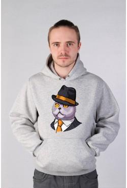 Толстовка с принтом Кот в шляпе, свитшот с принтом Кот в шляпе, футболка с принтом Кот в шляпе