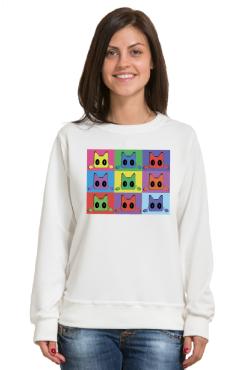 Толстовка с принтом Кот Popart, свитшот с принтом Кот Popart, футболка с принтом Кот Popart