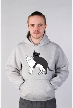 Толстовка Ying Yang Cats, свитшот Ying Yang Cats, футболка Ying Yang Cats