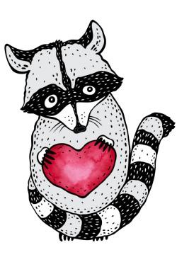 Толстовка с принтом  Енот с сердцем, свитшот с принтом Енот с сердцем, футболка с принтом Енот с сердцем
