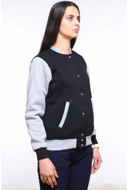 Колледж куртка женская черная с серым
