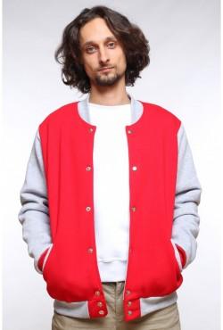 Колледж куртка мужская красная с серым