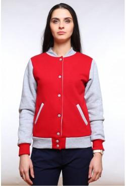 Колледж куртка женская красная с серым