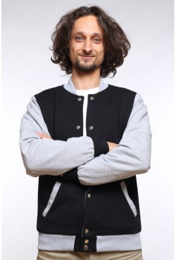 Колледж куртка мужская черная с серым