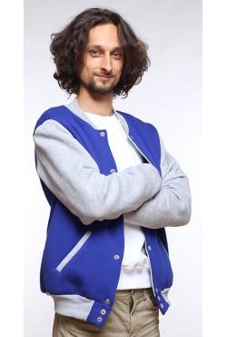 Колледж куртка мужская синяя с серым