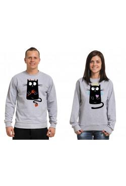 Парные свитшоты для влюбленных с котами