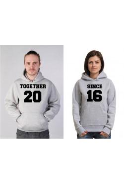 Толстовка парная Together Since ... (Вместе с ...) - 2 толстовки