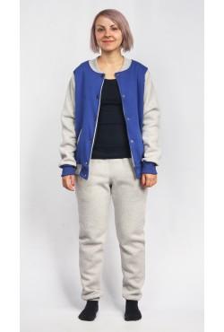 Женский спортивный костюм: васильковый (синий) бомбер + серые брюки