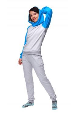 Женский спортивный костюм: бирюзовая толстовка реглан + серые брюки