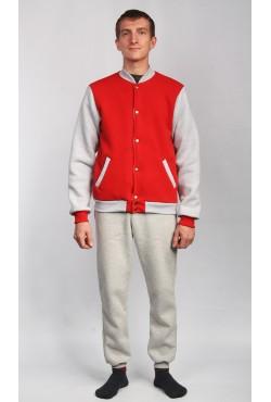 Мужской спортивный костюм: красный бомбер + серые брюки