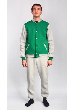 Мужской спортивный костюм: зеленый бомбер + серые брюки