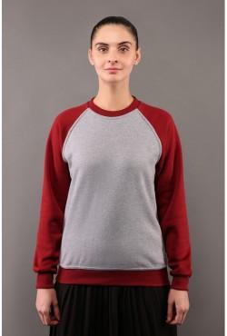 Женский свитшот-реглан серо-бордовый 320гр/м2
