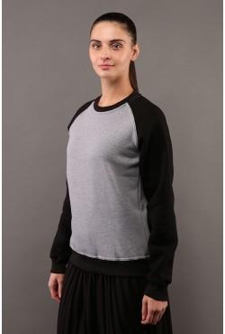 Женский свитшот-реглан серо-черный 320гр/м2