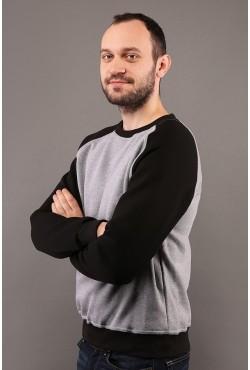 Мужской свитшот-реглан серо-черный 320гр/м2