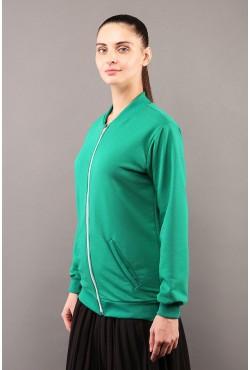 Свитшот на молнии женский зеленый