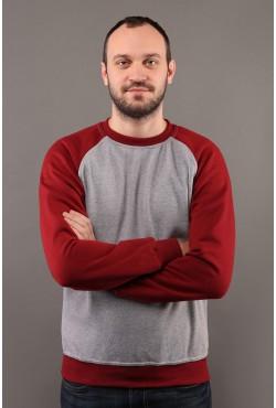 Мужской свитшот-реглан серо-бордовый 320гр/м2