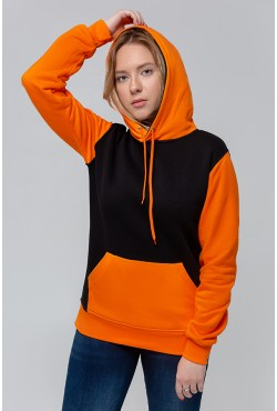 Teenager Black-Orange Hoodie OVERSIZE  - Черно-оранжевое худи оверсайз подростковое