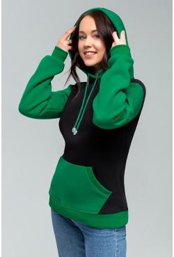 Teenager Black-Green Hoodie OVERSIZE  - Черно-зеленое худи оверсайз подростковое