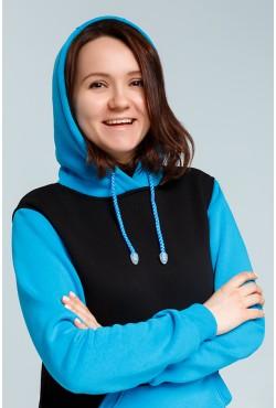 Teenager Turquoise-Black Hoodie OVERSIZE  - Черно-оранжевое худи оверсайз подростковое