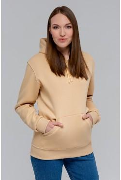 Beige Color Hoodie Woman Classic Женская Бежевая толстовка худи классическая 320гр/м.кв