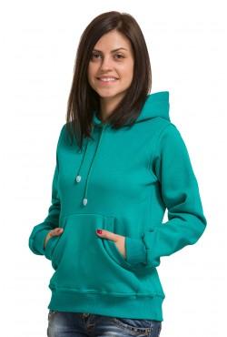 Emerald Color Hoodie Woman Classic Женская изумрудная толстовка худи классическая 320гр/м.кв (цвет морской волны)