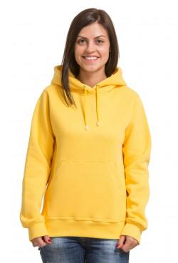 Yellow Hoodie Woman Classic Женская желтая  толстовка худи классическая с карманом 320гр/м.кв