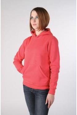 Coral Color Hoodie Woman Classic Женская коралловая толстовка худи классическая 320гр/м.кв