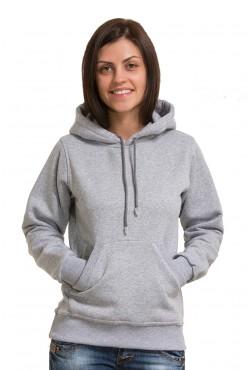 Grey Color Hoodie Woman Classic Женская серая толстовка худи классическая 320гр/м.кв(экрю) с капюшоном (серый-меланж)