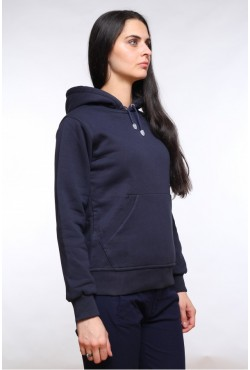 Navy Blue Color Hoodie Woman Classic Женская темно-синяя толстовка худи классическая 320гр/м.кв