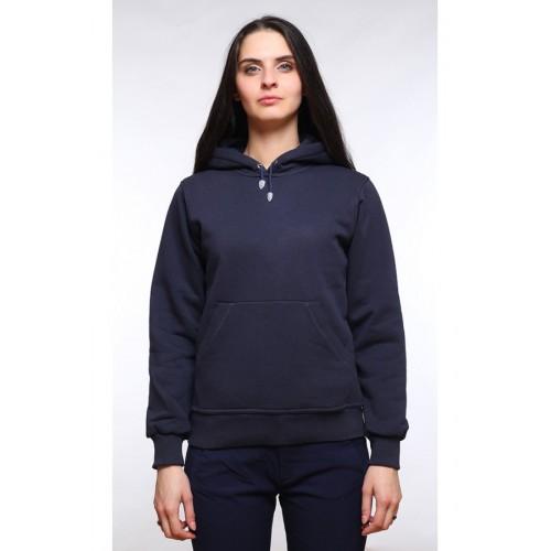 Женская темно-синяя толстовка с капюшоном и карманом 320р/м2 с начесом