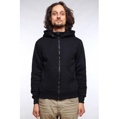 Мужская черная толстовка на молнии с карманом и капюшоном 320гр/м2 с начесом