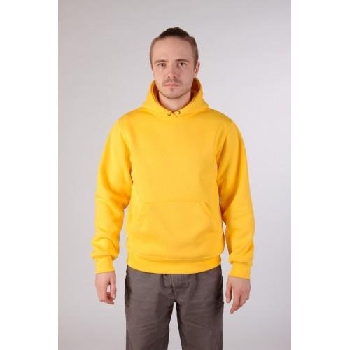 Мужская желтая толстовка с капюшоном и карманом 320гр/м2 с начесом