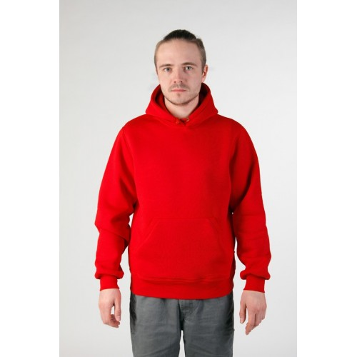 Мужская красная толстовка с карманом и капюшоном 320гр/м2 с начесом