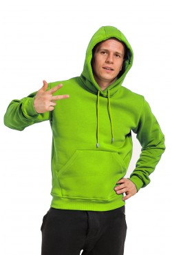 Light Green Color Hoodie Man Classic Мужская салатовая толстовка худи классическая 320гр/м.кв