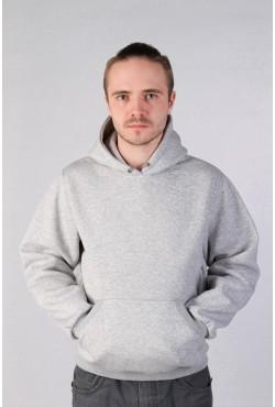 Grey Color Hoodie Man Classic Мужская серая толстовка худи классическая 320гр/м.кв (серый меланж)