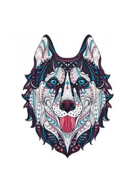 Толстовка, свитшот, футболка с Собакой хаски в этническом стиле
