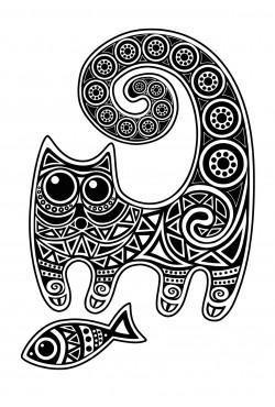 Толстовка с принтом Кот с рыбой, свитшот с принтом Кот с рыбой, футболка с принтом Кот с рыбой