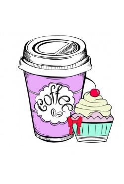 Толстовка, свитшот, футболка Кофе и пироженка