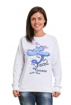 Толстовка, свитшот или футболка с надписью I'm not a girl I'm a storm with skin
