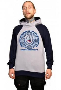 Толстовка двуцветная мужская с капюшоном Финансовый университет