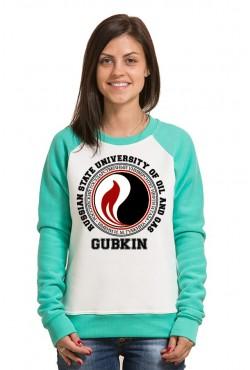 Свитшот двуцветный женский РГУ Нефти и Газа И. М. Губкина
