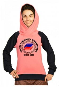 Толстовка двуцветная мужская с капюшоном ГУУ Государственный университет управления