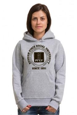 Толстовка с капюшоном РГСУ Российский государственный социальный университет (25 цветов на выбор)